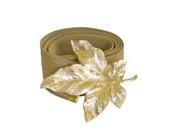 Gold Waist Belt, Gold Leaf, Wedding Waist Belt, Ribbon Belt, romantic Belt