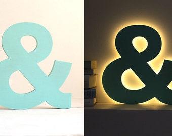 Letter light - light up letters - lighted letters - led light - led lamp - led letter - nursery light - night light kids - wood night light