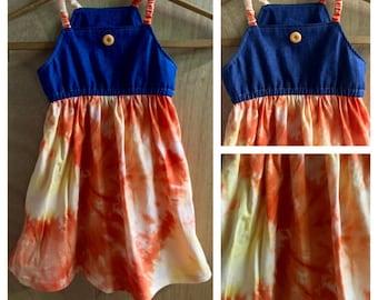 Denim and Jersey Knit  Summer Jumper Dress, Cotton, size 4t