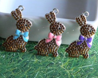 Easter Bunny Rhinestone Pendant You Choose Blue Pink or Purple Bow Bubble Necklace Key Chain Zipper Pull Jewelry Ornament Chocolate Bunny