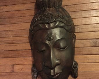 Vintage African Wood Carved Face Wall Mount