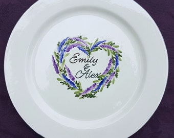Unique Wedding Guest Book Alternative Wedding Guestbook,Guest Book,signature plate,sign in platter,Flower Heart ELEGANCE Floral Heart