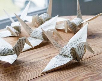Origami papier grue 100 grand - livre Page Origami - Origami recyclé - DRAGEES - plié papier oiseaux - ornement, décoration -