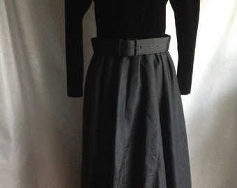 Vintage 80's Dress 9/10 E.D. Michaels Black Velvet Bodice Taffeta Skirt Theatre