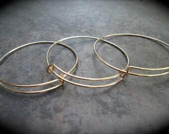 SALE Set of 9 Gold Finish adjustable bangle bracelet blanks expandable bangle bracelets