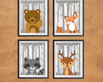 Forest Animals Nursery Wall Prints | Set of 4 | PDF | 8x10 | Printable Digital Download | Baby Room Decor