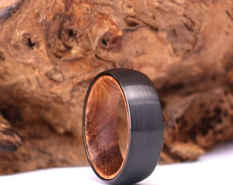 Zebra Wood Black Tungsten Mens Wedding Ring Zebra Wood Band Black Tungsten Band Zebra Wood Mens Wedding Rings