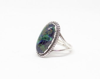Azurite Malachite Ring, Sterling Silver Azurite, Silver Malachite, Silver Azurite, Ladies Malachite, Under 100, Gift For Her, 1645