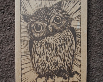 Owl Block-Printed Journal - Small Linocut Kraft Paper Journal - Blank or Lined