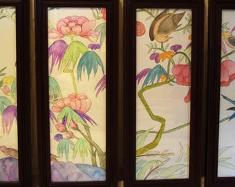 The four Season Chinese Watercolor Painting