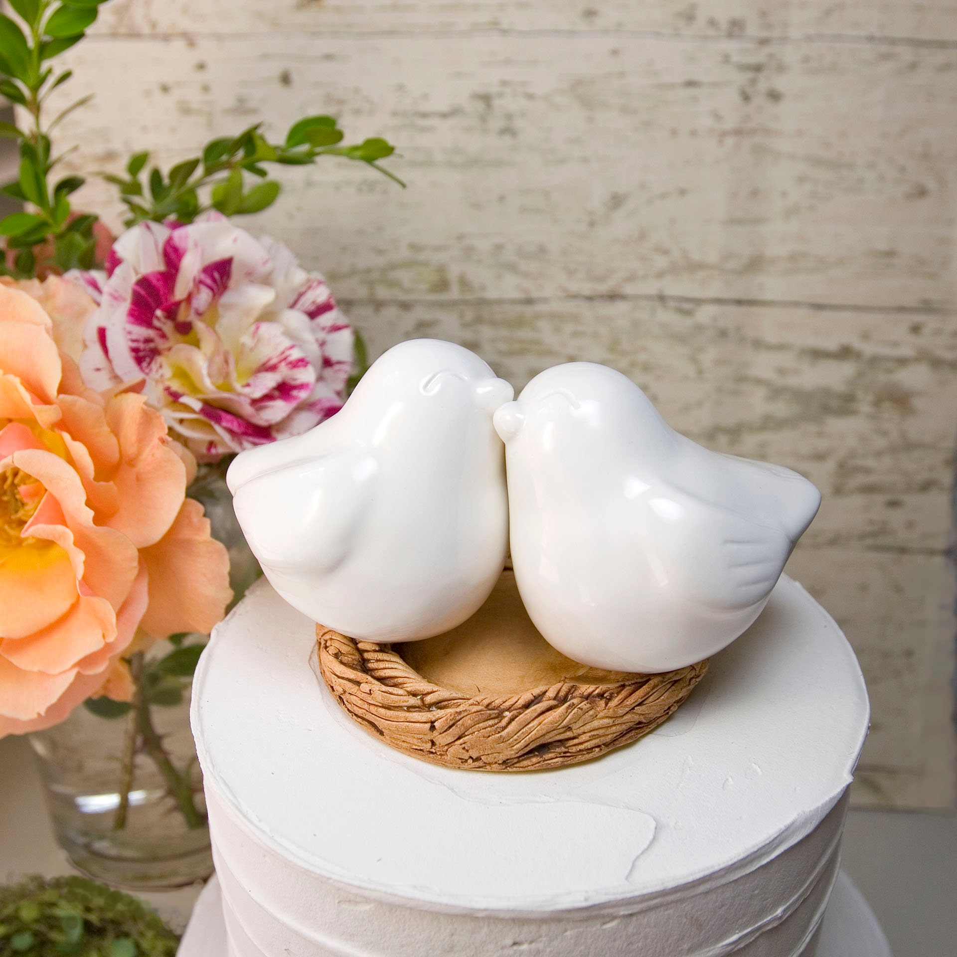 White Bird Wedding Cake Topper with Names and Wedding Date Engraved ...