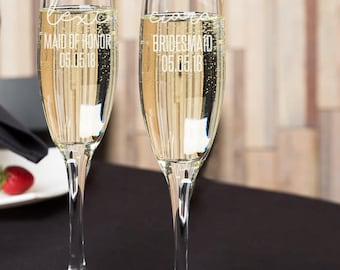 Personalized Bridesmaids Champagne Flutes, Wedding party flutes, Engraved champagne flutes, Wedding Flutes/One Flute Engraved