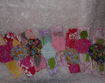 Shabby Flower Headbands cotton fabric  Pinks Purple Yellow Adult and Children