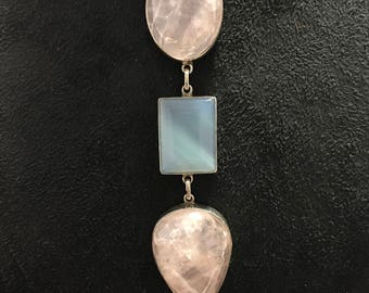 Rose quartz n blue onex pendant