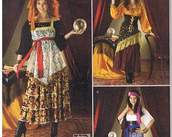 Fortune Teller Gypsy Costume Off the Shoulder Top Tiered Skirt Tunic Corset Turban Shawl Simplicity 2331 Sewing Pattern Size 6 8 10 12