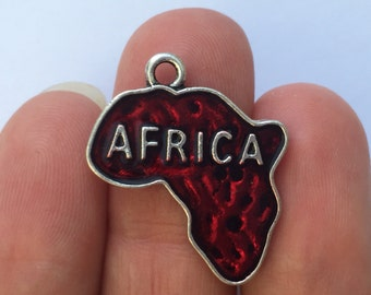 2 Red Africa Charms  - SC1115