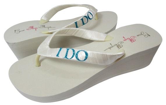 Bride Flip Satin brides Wedge Turquoise heel Shoes Bling platform Wedding Do bridesmaids blue ivory White Flops Bridal I Glitter rr6dqB