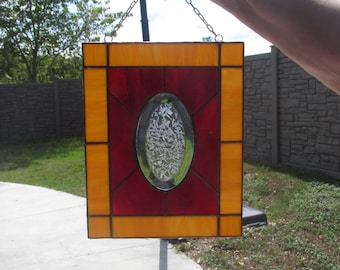 Suncatcher (panel) Traditional Stained Glass with Oval Glue Chip Bevel Honey and Red
