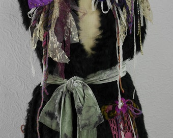 "Wool Vest with and natural rabbit, waistcoat, ""Wild blueberry"" hot and feminine, Art to wear, Unique"