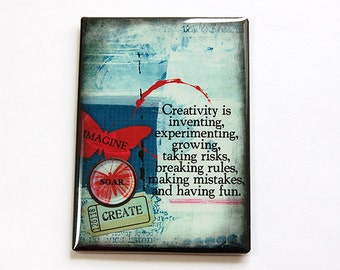 Kitchen magnet, Fridge magnet, Magnet, ACEO, stocking stuffer, Creativity, Growing, Experimenting, Abstract Design, Imagine, Soar (4787)