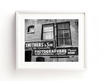 """black and white photography, large art, industrial decor, large wall art, wall art, wall art prints, black and white - """"Smithers And Son"""""""