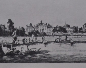 Vintage Print of Dry-point Etching 1934 - Kensington Palace by Sidney Tushingham - Children Sailing Boats - Swans - Matted -Ready to Frame