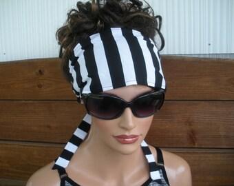 Womens Headband Fabric Headband Fashion Accessories Women Headscarf Yoga Headband in Black and White Stripes print