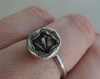 Knowledge Ring, raven wax seal jewelry, sterling silver, amulet