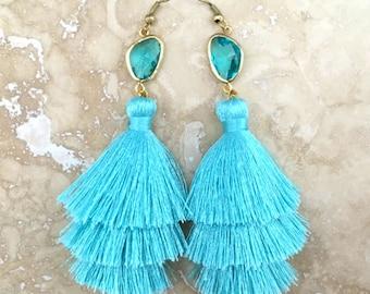 Long Aqua Gemstone Earrings, Handmade Tassel Earrings, Aquamarine Earrings, Aqua Gemstone Earrings, Light Blue Earrings, Weddings, Bridal