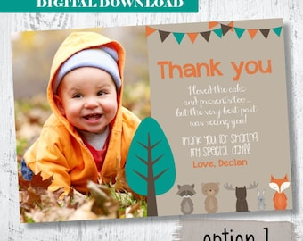 Woodland Forest Friends Photo Thank you Card.Woodland Birthday Photo Thank You.Forest Animals Photo Thank You.Fox Party Printable.Boys Photo