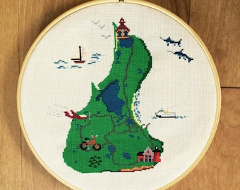 Block Island cross stitch pattern instant pdf download
