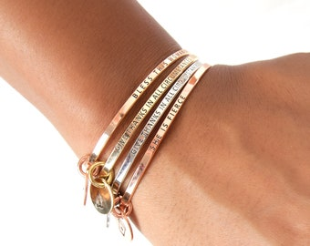 Dainty Skinny Bangle with Personalized Charms | Dainty Mantra Bangle | Quote Stacking Bangles | Gift for Her | Gift Under 15 | Inspirational