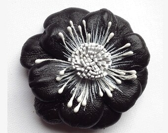 Leather Flower Brooch, black flower, leather brooch, wedding corsage, flower corsage, flower hair clip, floral brooch, flower pin, (lf28)