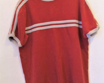 A Men's Vintage 90's,Red Short Sleeve Top With CHEST STRIPE By Old Navy.M