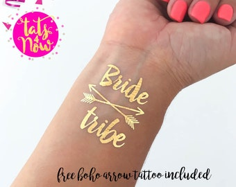 Bachelorette tattoo, Bride Tribe, BOHO BRIDE, gold tattoo, bachelorette party tattoo, SET of 8