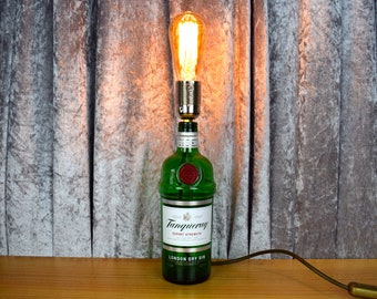 Upcycled Tanqueray Gin Bottle Table Lamp - UK