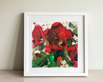 Red Poppy Painting Flower Painting Oil on Canvas, Flowers Art, Original Painting, Floral Art Painting Gift for Her, Gift Mother's Day