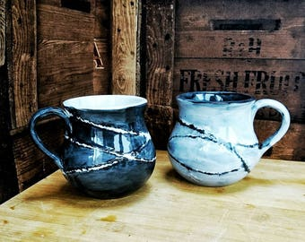 Contrast ceramic mugs, coffee cup, tea lover, black and white, weird and wonderful, unique birthday gift