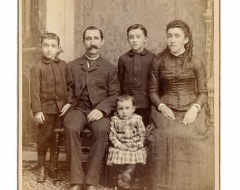 Beautiful cabinet card of family of five, studio pose