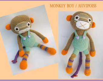 Amigurumi monkey-Monkey boy-Crochet stuffed animal