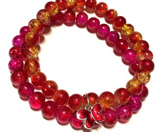 Fiery Red, Yellow and Pink Glass Beaded Bracelet