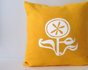 Pillow Cover - Cushion Cover - Happy Flower - 16 x 16 inches - Choose your fabric and ink color - Accent Pillow