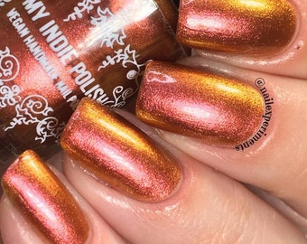 Multi chrome Nail Polish - Summer at the fire pit - LG bottles -  red-copper - gold