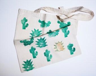 Linocut Hand Printed Tote Bag/ Cactus