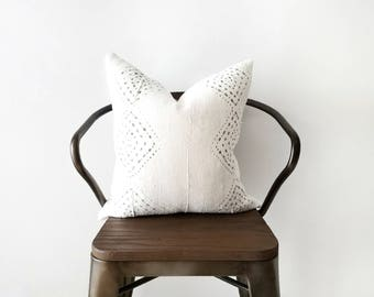 Authentic Mudcloth Pillow, Off-White/Cream, Light Grey, Silver, Metallic, Diamond, Dots, Geometric