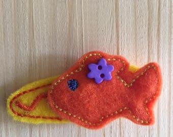 Cutie Pie Goldfish felt hair clip