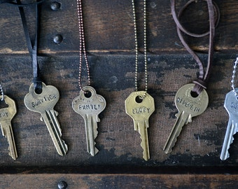 Key Necklace - Hand Stamped Key - Custom Word Key - Inspirational Key Necklace - Name Key Necklace - Personalized Key - Vintage Key Necklace