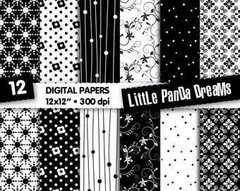 "Black and White Digital Paper | Digital Scrapbook Paper Pack | Digital pattern | 12x12"" | 300 dpi | Instant Download | 12 Digital papers"
