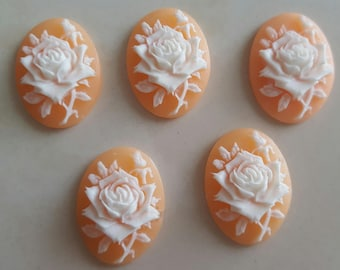 set of 5 3D flower cameos cabochons
