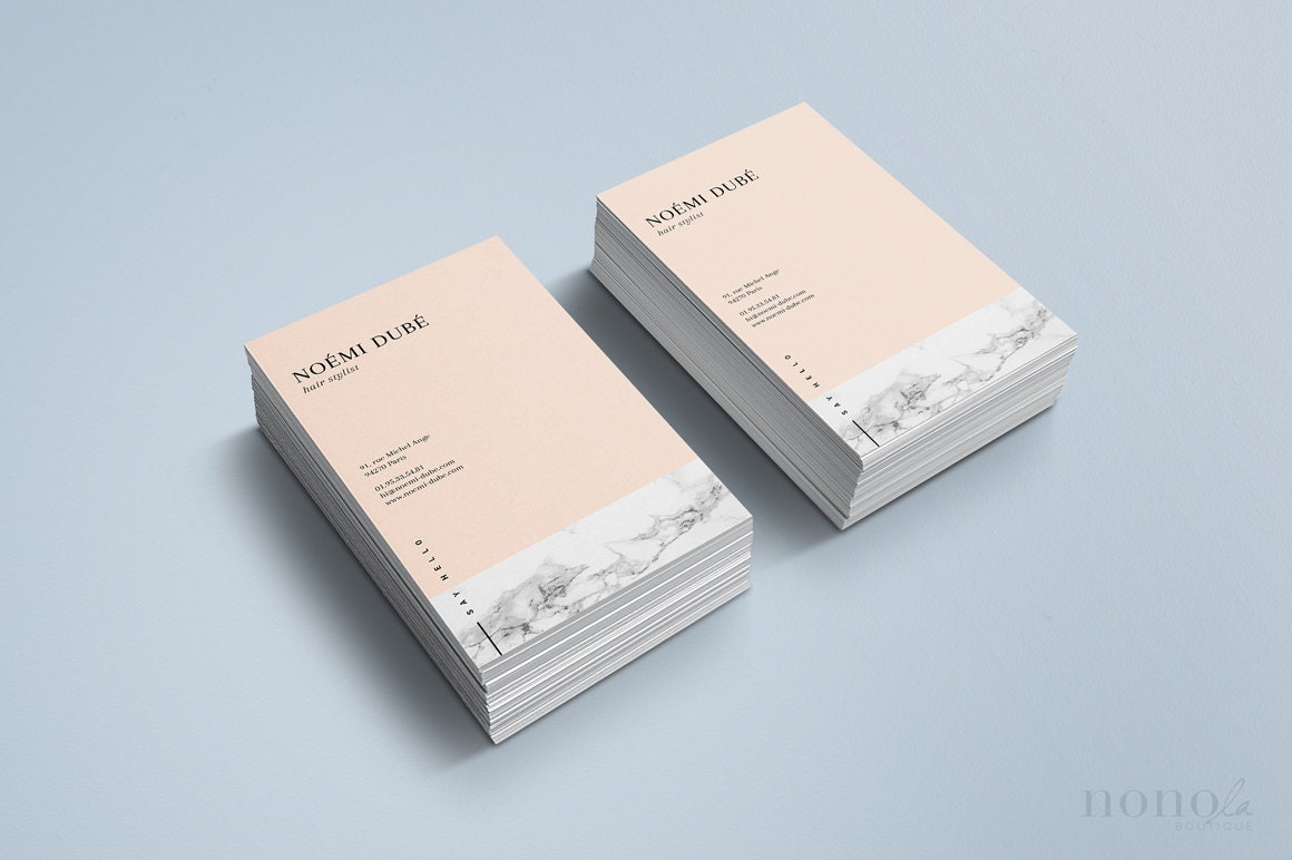 Elegant Business Card Template Marble Nude Business Card